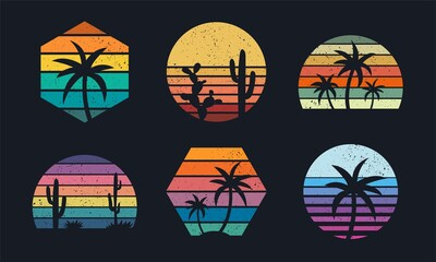 Obraz Retro sunset collection 80s style. Striped colorful shapes with tropical palms and cacti - fototapety do salonu