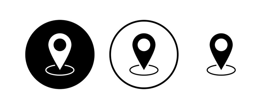 Pin icons set. Location icon. Map pointer icon. Point. Locator. Address