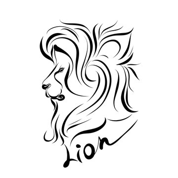 Monochrome Illustration of Lion Head. For Coloring Book. Wild Lion Head Graphic Illustration. Design element