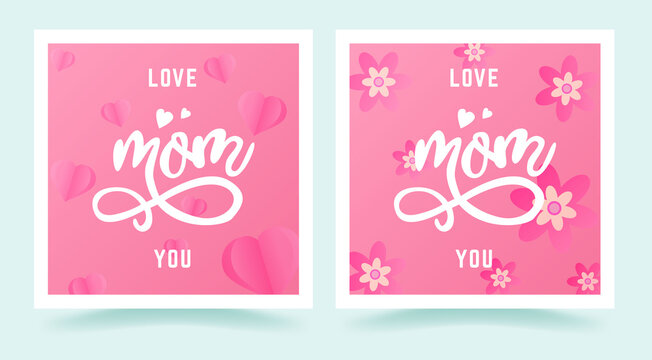 Pink banner with text i love you mom