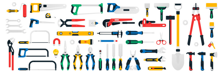Fototapeta Large collection of construction tools. Saws, wrenches, screwdrivers, multitool, hammers, spatula, lamp, magnet, flashlight caliper electrical outlet files shovel scissors Vector illustration