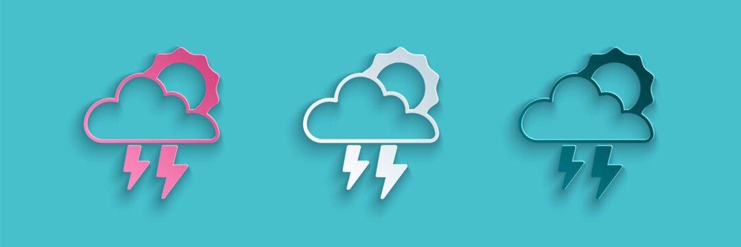 Paper cut Storm icon isolated on blue background. Cloud with lightning and sun sign. Weather icon of storm. Paper art style. Vector