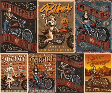 Motorcycles and pretty women vintage posters