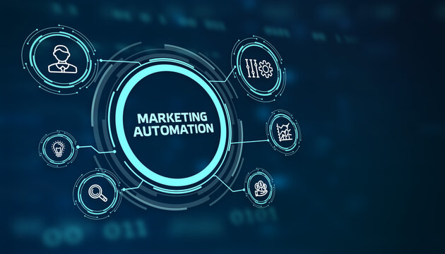 Planning marketing strategy. Business, Technology, Internet and network concept. The word: Marketing automation