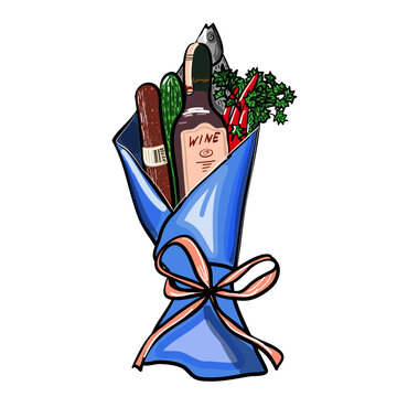 Gift Bouquet with Food. Original Presents Used for Magazines, Cafes, Stickers.