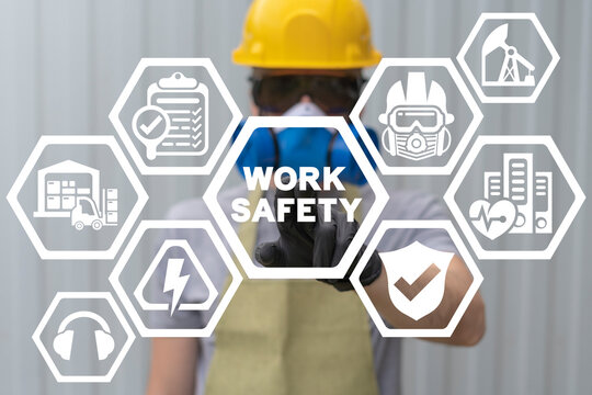 Concept of work safety. Worker health safety first requirement.