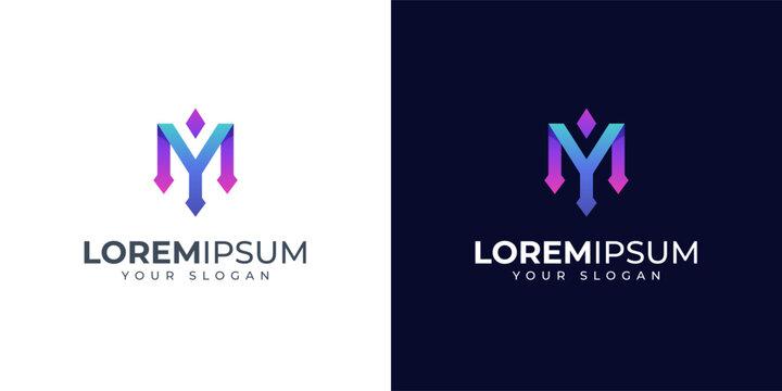 Monogram Letter Y and M logo design inspiration. MY logo. YM logo.