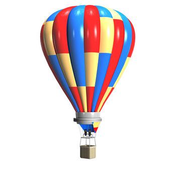 3d Heißluftballon, Ballon, mit buten Farben isoliert