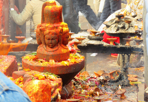 Hindu worship temple in Nepal, Hindu culture, god statue, and temple candles.