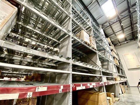 Miami, Florida.  April 21, 2021: view of empty IKEA shelves and out of stock store item inventory.