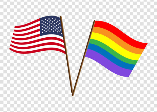USA and LGBT flag. Graphics and design.
