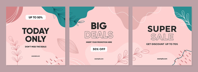 Fototapeta Sale square banner template for social media posts, mobile apps, banners design, web, and internet ads. Trendy abstract square template with colorful concept.