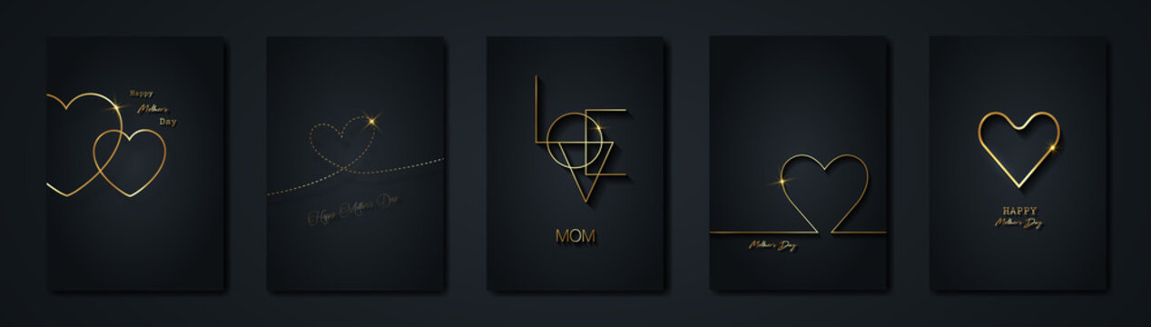 Happy Mothers day vector set greeting card. Gold heart on black background. Golden holiday poster with text. Concept for mother's day banner, flyer, party invitation, gift shop, vertical templates