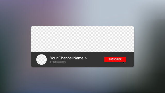 Youtube Channel Name Lower Third with Content Placeholder. Broadcast Banner for Video On Blurry Background. Placeholder for channel logo. Vector illustration