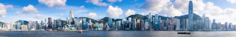 Fototapeta Hong Kong cityscape, extra wide panoramic skyline