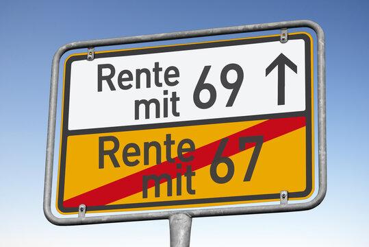 Zukünttig Rente mit 69?, Wegweiser, (Symbolbild)