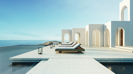 Fototapeta Luxury beach and Pool villa Santorini style - 3d rendering