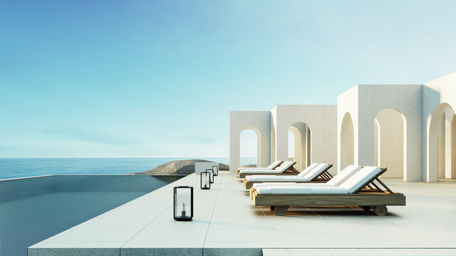Luxury beach and Pool villa Santorini style - 3d rendering