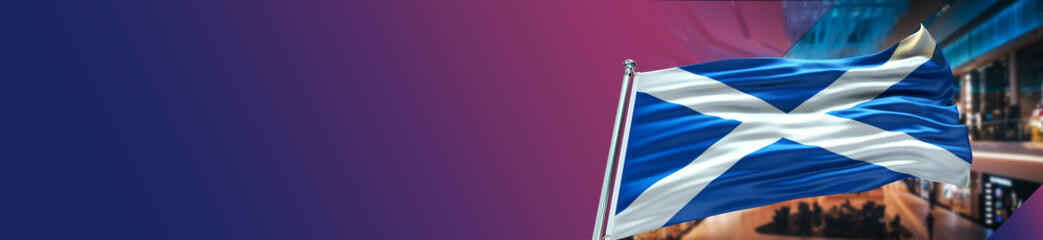 Fototapeta Scotland Flag with Shopping Center and large Gradient Single Flag