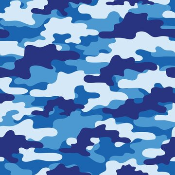 blue Abstract seamless military camo texture for print. Forest background. Vector