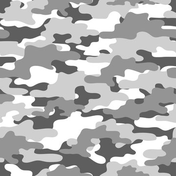 grey Abstract seamless military camo texture for print. Forest background. Vector