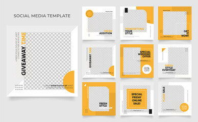 Fototapeta social media template banner blog fashion sale promotion. fully editable instagram and facebook square post frame puzzle organic sale poster. fresh yellow element shape vector background obraz
