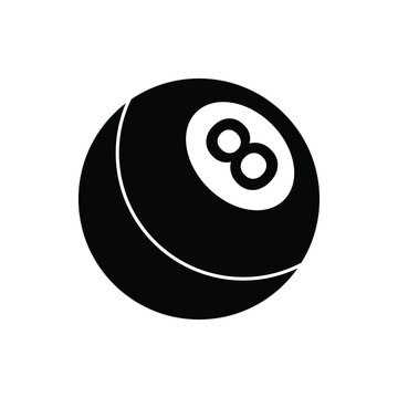 Pool eight ball icon design isolated on white background
