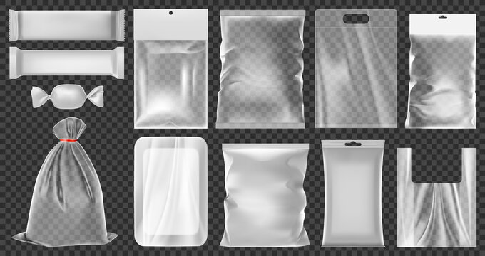 Realistic plastic package. Empty vacuum plastic containers, clean polythene food packaging vector illustration set. Transparent 3d plastic bags