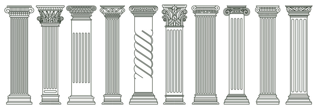Ancient classic pillars. Greek and roman architecture pillars, historic architectural columns isolated vector illustration set. Antique classic columns