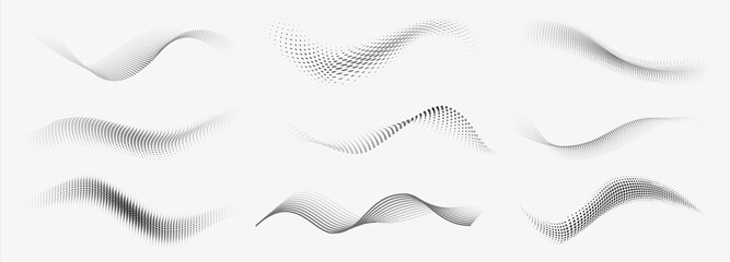 Obraz Dotted halftone waves. Abstract liquid shapes, wave effect dotted gradient texture waves isolated vector symbols set. Halftone graphic dots waves - fototapety do salonu