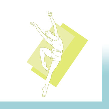 A ballet girl drawing. An illustration of a woman doing ballet.