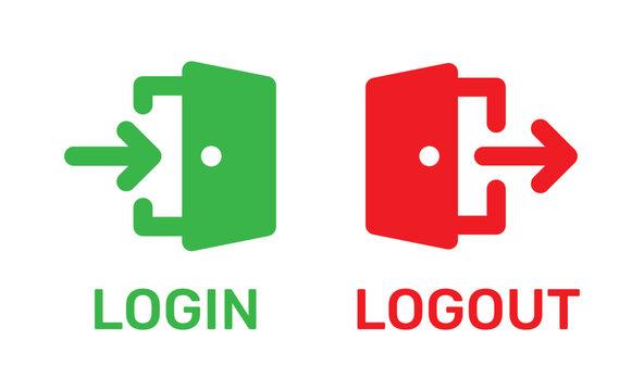Login and logout doorway icons.
