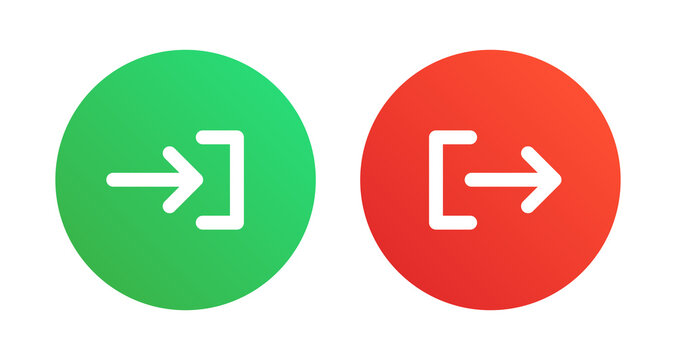 Account login and logout icon on red and green button.