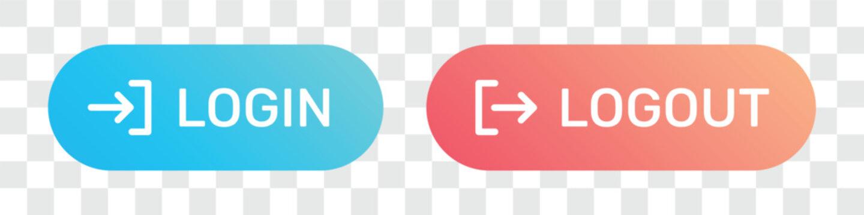 Set of login logout buttons.
