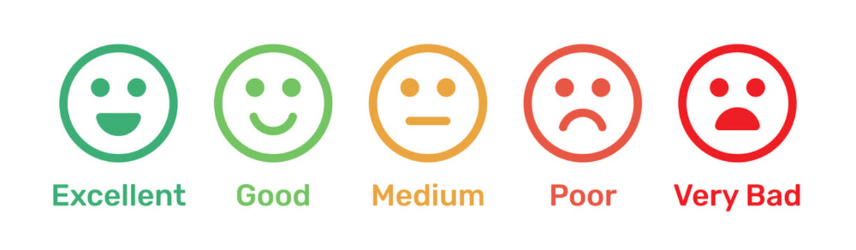 Satisfaction rating. Feedback scale with emoticon faces, bad to good user experience vector illustration.
