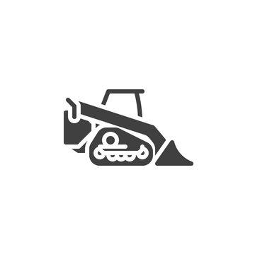 Mini excavator vector icon