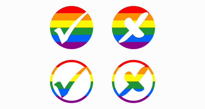 Set of round buttons with check marks and crosses in LGBT colors. Crosses and check marks, positive and negative, yes and no, acceptance and rejection. Vector illustration