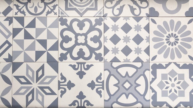 abstract grey tile Floral Mosaic portuguese Pattern azulejo design for decor background