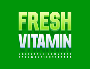 Fototapeta Vector modern concept Fresh Vitamins. 3D White Font. Stylish Alphabet Letters and Numbers set