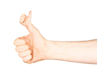 Obraz Weird thumb up of man`s hand isolated on white background with clipping path - fototapety do salonu