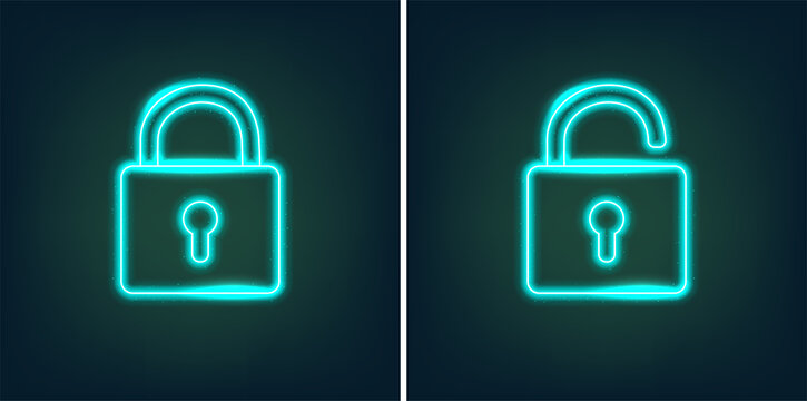 Locked and unlocked padlock icons in shiny neon graphic style