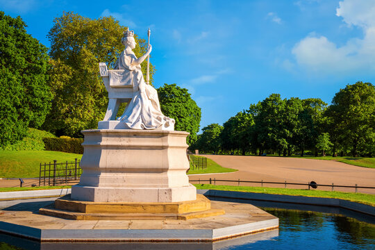 London, UK - May 14 2018: Statue of Queen Victoria in front of Kensington Palace inside Kensinton gardens