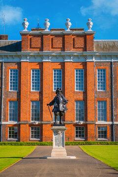 London, UK - May 14 2018: Statue of King William II on the side of Kensington Palace inside Kensinton gardens