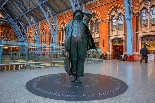 London, UK - May 14 2018: The Betjeman statue of sir John Betjeman the man who save St. Pancras station from demolition in the 1960's