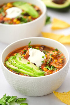 Mexican food. Chicken enchilada soup.