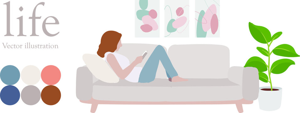 Morandi color hand drawn stylish family life vector decorated woman reading a book on the sofa. Green potted plants relax interior, modern, life, house photo frame pop style background simple line des
