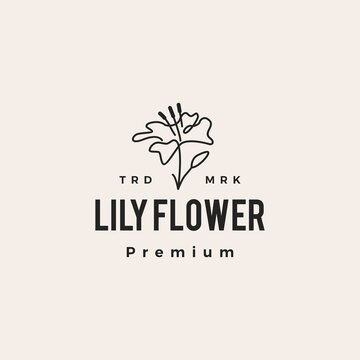 lily flower hipster vintage logo vector icon illustration