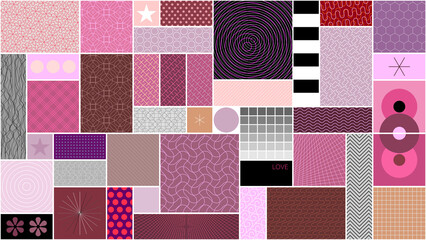 Vector design of many different abstract patterns and shapes for web, vintage, package, advertisement, commercial banner, poster, leaflet, billboard, sale. Can be used as seamless background.