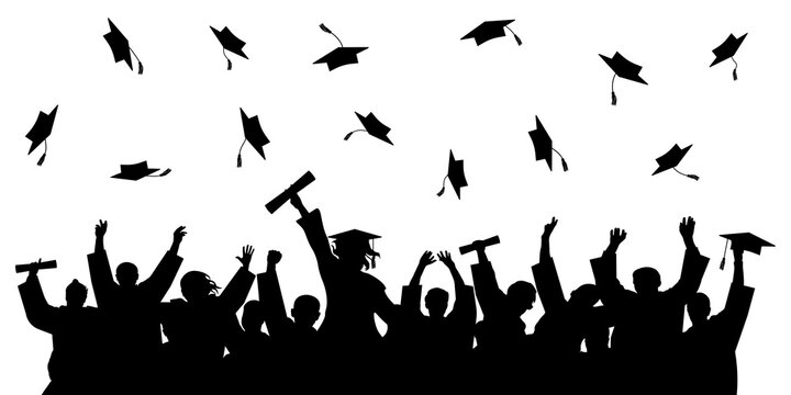 Cheerful graduate students with diploma, throwing academic caps, silhouette. Graduation at university or college or school. Vector illustration.