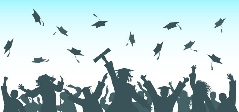 Graduation. Cheerful graduate students throwing academic caps, silhouette. Crowd of people. Vector illustration.